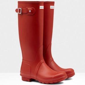 Hunter Red Rubber Rain Boots